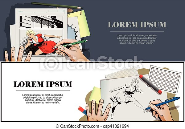 Presentation template. Surprised young woman is pointing finger. - csp41021694