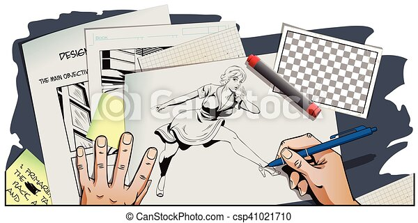 Presentation template. Surprised young woman is pointing finger. - csp41021710