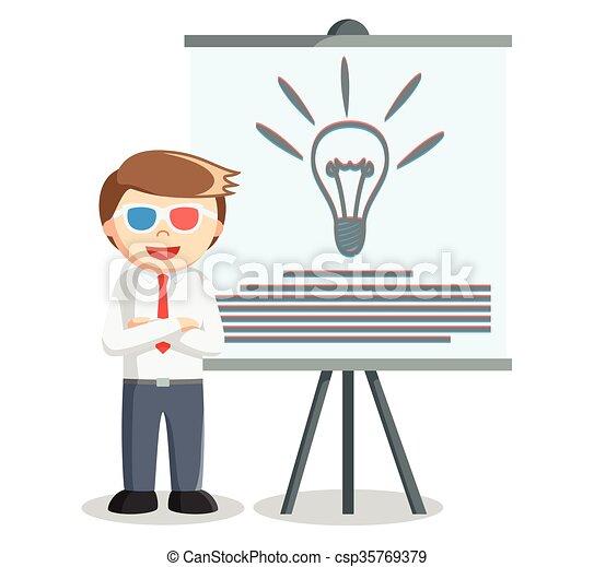 presentazione, idea, uomo affari - csp35769379