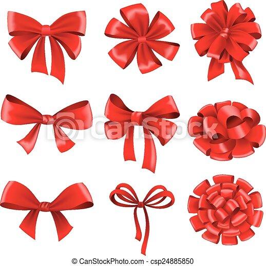 presente, grande, cobrança, arcos, ribbons., vermelho - csp24885850