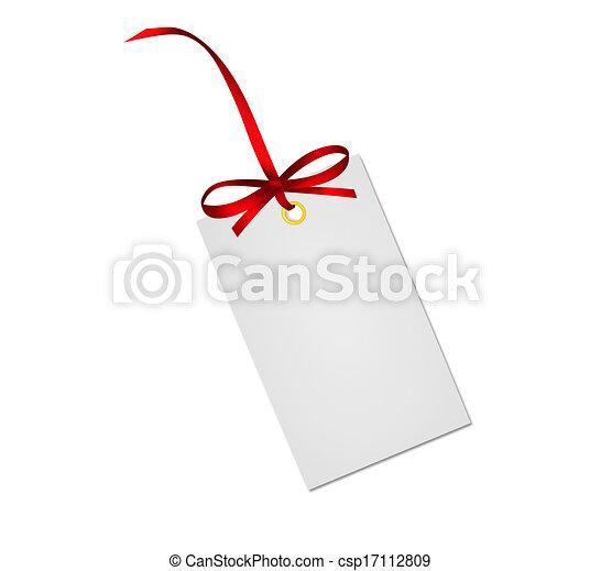 presente, isolado, arco, nota, fita, fundo, branca, cartão, vermelho - csp17112809
