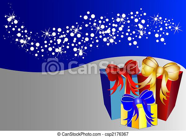 Un fondo de Navidad de color con estrellas y regalos - csp2176367