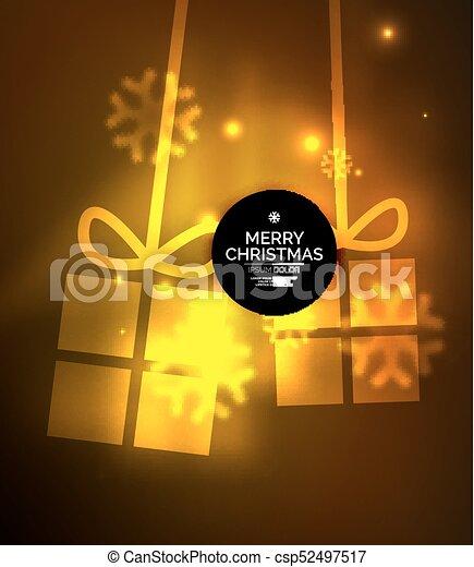 presente, snowflakes, glowing, caixas, modelo, ano, novo, natal - csp52497517