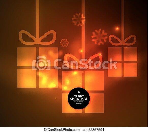 presente, snowflakes, glowing, caixas, modelo, ano, novo, natal - csp52357594
