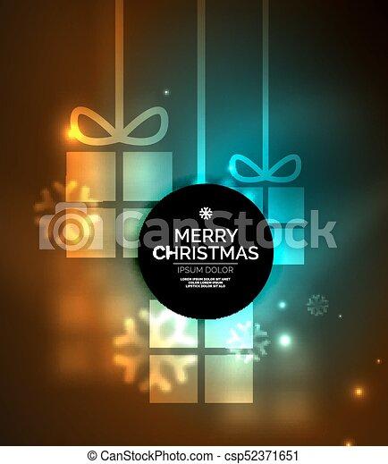 presente, snowflakes, glowing, caixas, modelo, ano, novo, natal - csp52371651