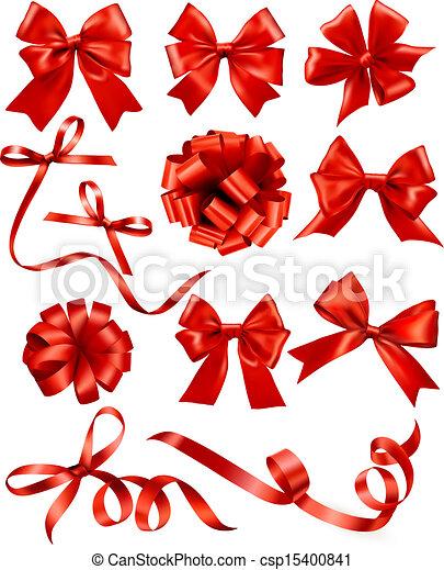 presente, vetorial, arcos, grande, jogo, vermelho, ribbons., illustration. - csp15400841