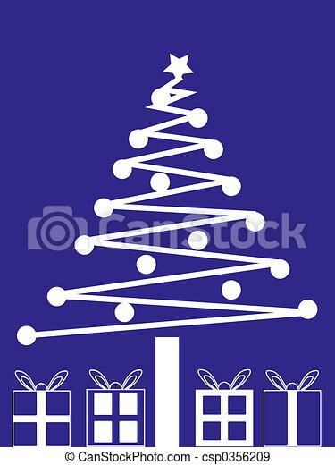 Árbol de Navidad y regalos - csp0356209