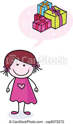 Chica feliz con regalos - csp5072272