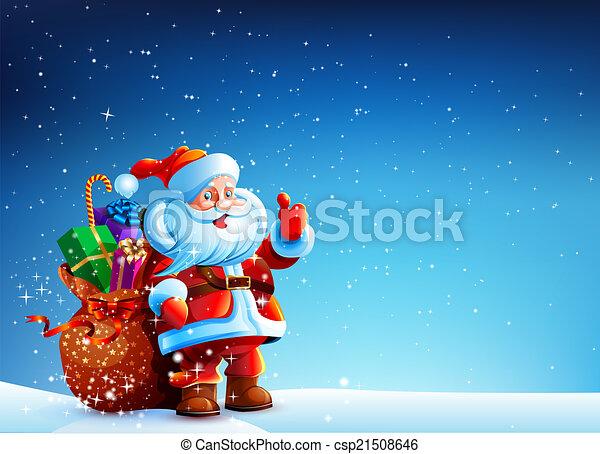 presentes, saco, claus, neve, santa - csp21508646