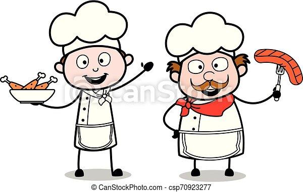 Presenting Non Veg Food Cartoon Waiter Male Chef Vector Illustration