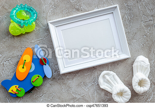 Presents Set For Baby Shower With Frame Gray Stone Background Top