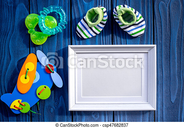 Presents Set For Baby Shower With Frame Blue Wooden Background Top View  Mockup   Csp47682837