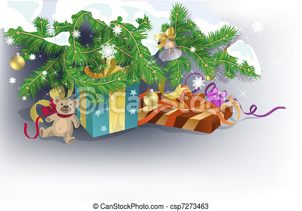 Presents under Christmas tree - csp7273463