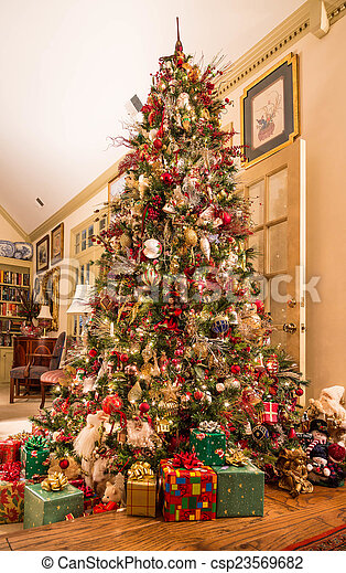 Presents Under Decorated Christmas Tree In Den A Beautifully