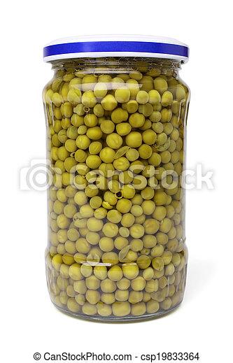 Preserved peas in glass jar - csp19833364