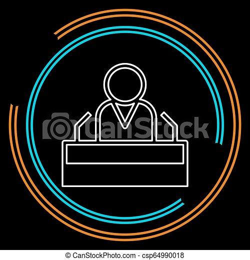 presidente, fala, ícone, orador público, personagem - csp64990018