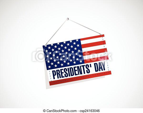 El día de los presidentes, nosotros colgando ilustraciones de banderas - csp24163046