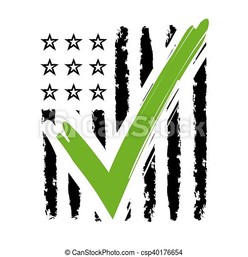 Presidential Election Usa Sign Black And Green Design On White