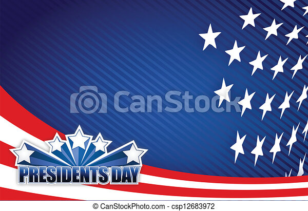 Presidents day red white and blue - csp12683972
