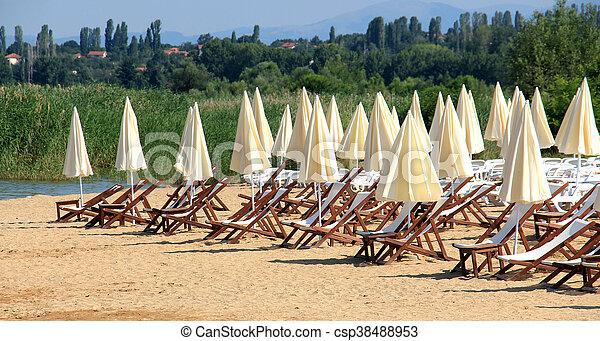 prespa, praia, lago, macedonia - csp38488953