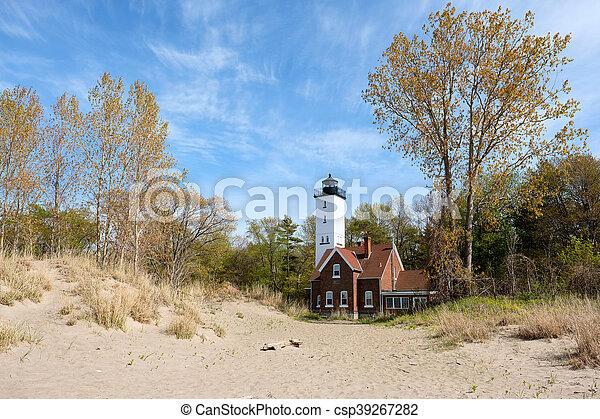 Presque Isle lighthouse, built in 1872 - csp39267282