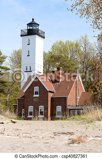 Presque Isle lighthouse, built in 1872 - csp40827361