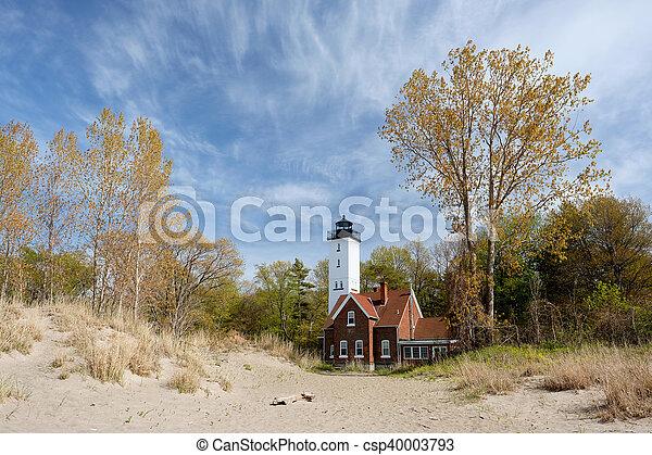 Presque Isle lighthouse, built in 1872 - csp40003793