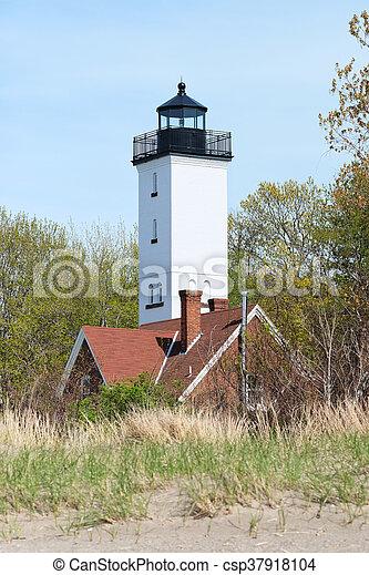 Presque Isle lighthouse, built in 1872 - csp37918104