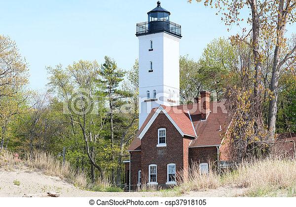 Presque Isle lighthouse, built in 1872 - csp37918105