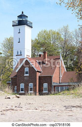 Presque Isle lighthouse, built in 1872 - csp37918106