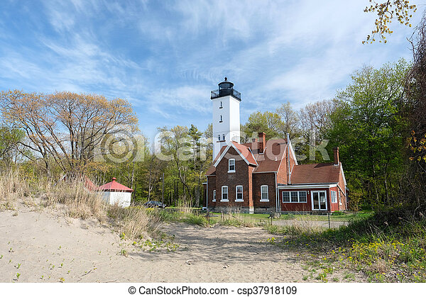 Presque Isle lighthouse, built in 1872 - csp37918109