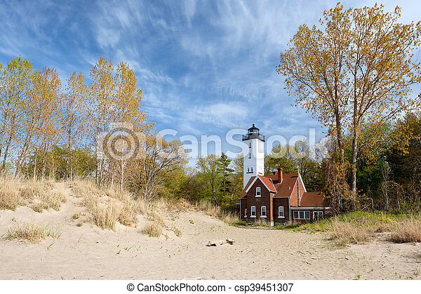 Presque Isle lighthouse, built in 1872 - csp39451307