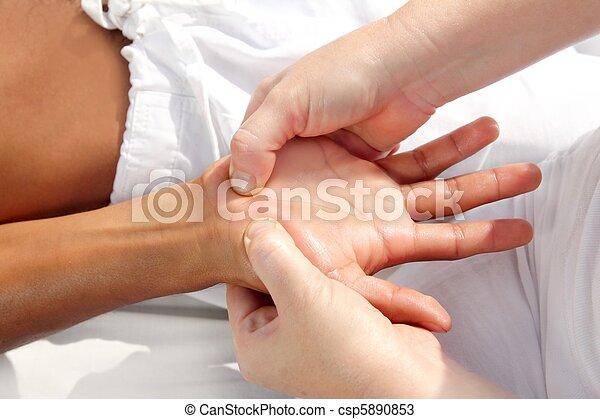 pressão, digital, tuina, reflexology, terapia, mãos, massagem - csp5890853