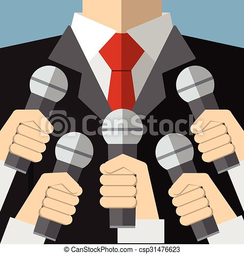 Press conference with microphones - csp31476623