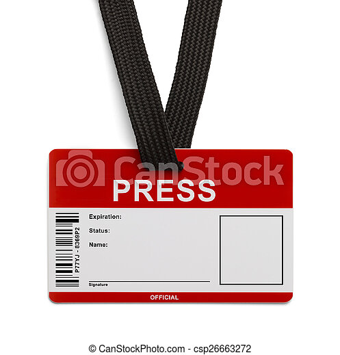 And White Red Isolated Background Card Press Pass Id On Card