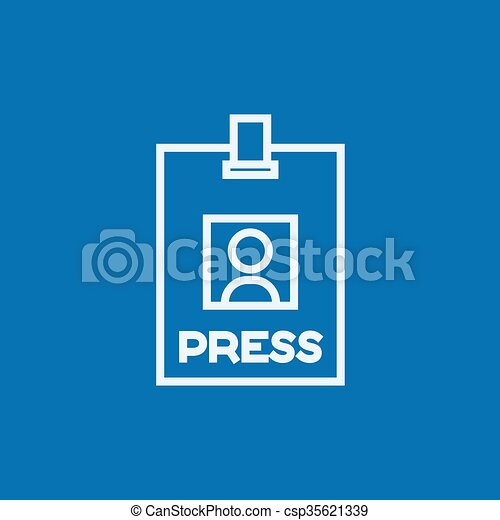 Press pass ID card line icon. - csp35621339