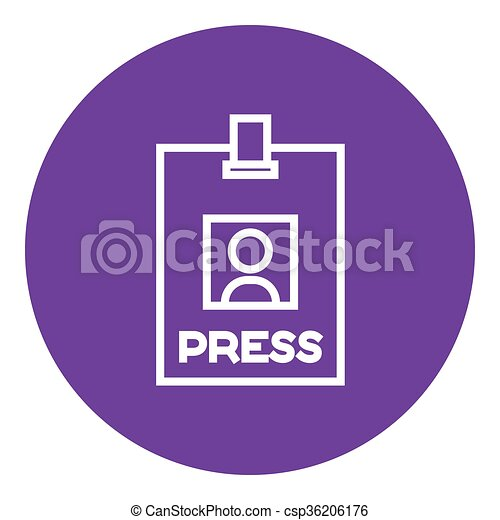 Press pass ID card line icon. - csp36206176
