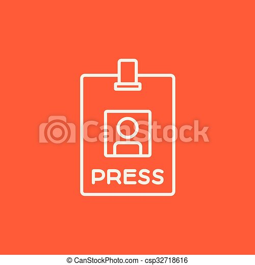 Press pass ID card line icon. - csp32718616