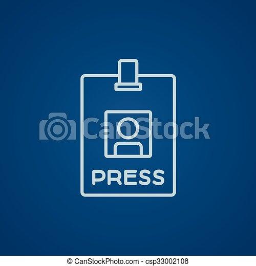 Press pass ID card line icon. - csp33002108