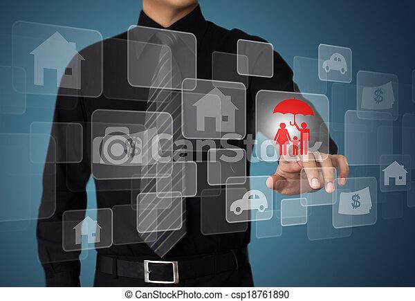 presse, forretningsmand, knap, forsikring - csp18761890