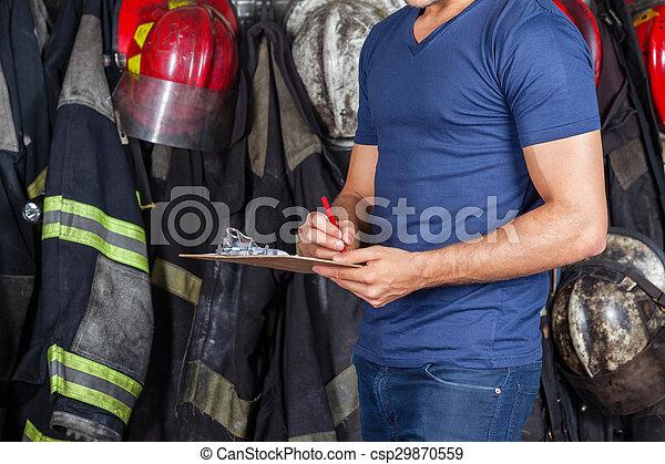 presse-papiers, pompier, écriture - csp29870559