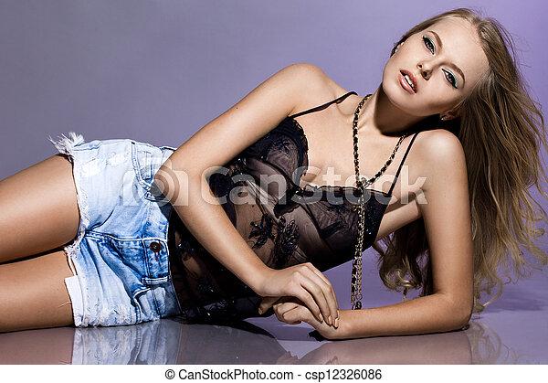 pretas, bonito, singlet, mulher - csp12326086