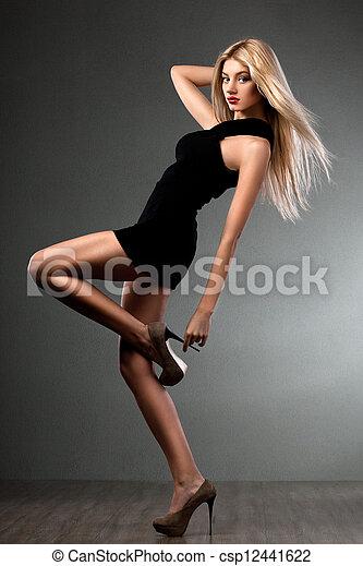 pretas, bonito, vestido, mulher - csp12441622