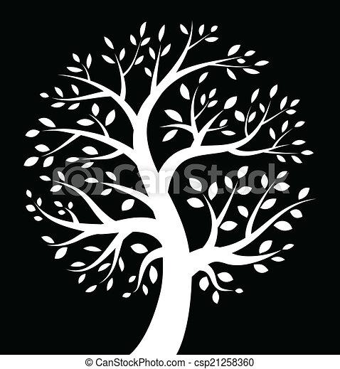 pretas, branca, árvore, fundo, ícone - csp21258360