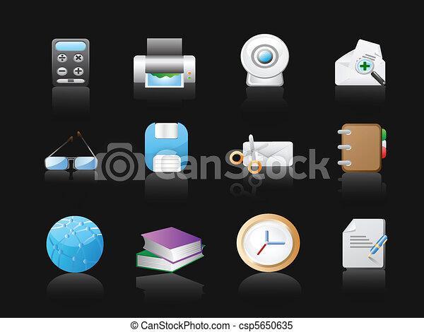 pretas, escritório, fundo, ícones - csp5650635