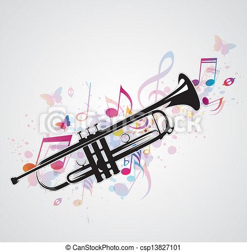 pretas, notas, trompete - csp13827101