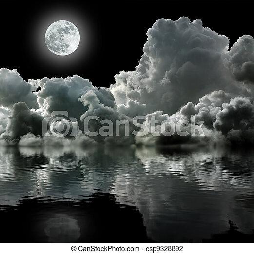 pretas, nuvens, tempestuoso, lua - csp9328892