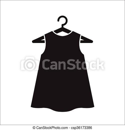 pretas, pequeno, cabide, vestido - csp36173386
