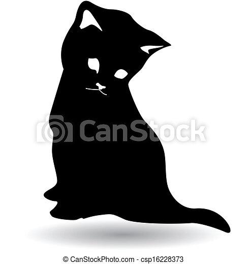 pretas, silueta, gato - csp16228373