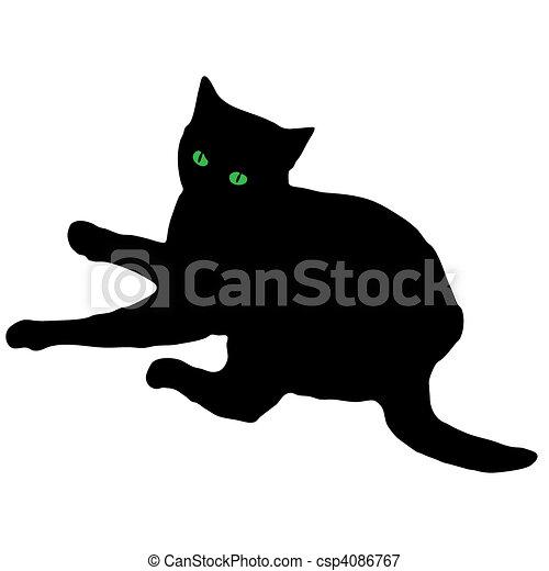 pretas, silueta, gato - csp4086767